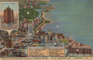 Aerial View Of Allerton Hotel Chicago Illinois Vintage Linen Post Card