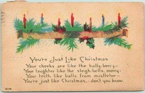 Vintage CHRISTMAS Greetings Postcard You're Just Like Christmas… 1922 Cancel