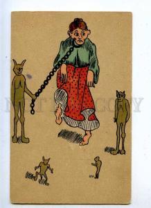 199077 Circus ART NOUVEAU Woman TRAINING Chain DEVIL Vintage