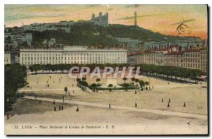 Postcard Old Lyon Bellecour Square and Chateau de Fourviere
