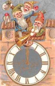 Happy New Year Elves and Clock 1909