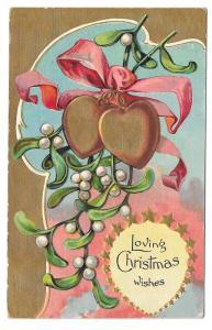 Christmas Gold Hearts Xmas Mistletoe Series Gilt Postcard