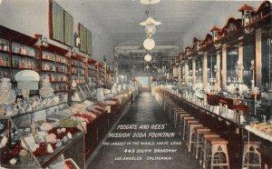 F81/ Los Angeles California Postcard c10 Fosgate Rees Soda Fountain Interior 1