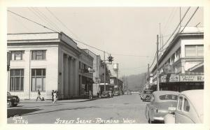 Raymond Washington~Main Street~Cut Rate Drugs~BPOE Clock~Water Tower~1940s RPPC