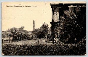 Galveston Texas~Broadway & Rosenburg~1836 Heroes Monument~Close Up Home~1911