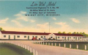 WRIGHT CITY MISSOURI LIN WAL MOTEL~CONTINENTAL HWY U S #40 POSTCARD 1940s