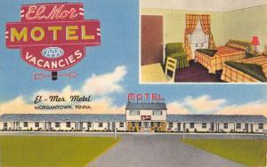 Morgantown Pennsylvania El Mor Motel Multiview Antique Postcard K86559