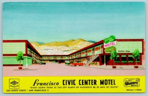 San Francisco CA~Art Deco Civic Center Motel~Artist Drawing~Rt 101~1950s