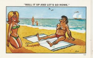 Couple. At the bech. Roll it up and.. Humorous saucy English PC 1959s