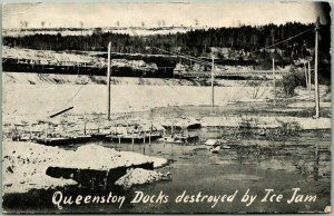 Niagara-on-the-Lake, ON Canada Postcard Queenston Docks Destroyed by Ice Jam