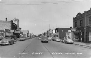 Crosby MN~Main Street~Bon Ton Cafe~Greyhound Bus Stop~Theatre~1940s Cars~RPPC
