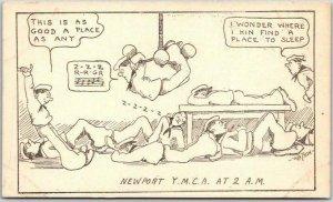 NEWPORT Rhode Island Comic Postcard YMCA at 2 A.M. Artist-Signed WATSON - Navy