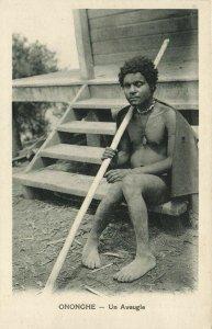 PC CPA PAPUA NEW GUINEA, ONONGHE, UN AVEUGLE, Vintage Postcard (b19756)