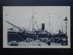 Egypt Shipping Cargo Ship S.S. EQUATOR at Alexandrie Port c1910 Postcard