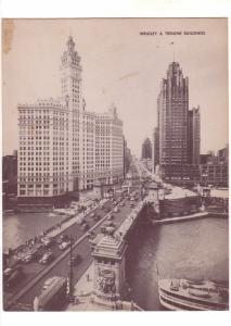 Oversize Card, Wrigley & Tribune Buildings, Bridge, Cars,  Chicago, Illinois ...