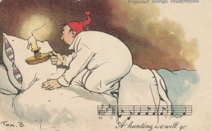 AAS: TOM B., PU-1906; Man with candle searching bed, Musical notes for A Huntin