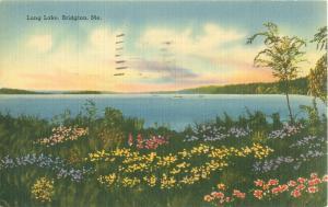 Long Lake, Bridgton Maine ME 1946 Linen Postcard Flowers, Tichnor Bros