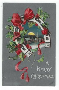 Vintage Christmas Greetings PC, A Church at Night, Horseshoe, Red Ribbon, 1908