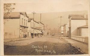 Hyndman PA Dirt Street Store Fronts General Store RPPC Real Photo Postcard