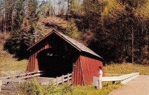 FISHER SCHOOL COVERED BRIDGE Lincoln County, Oregon c1950s Vintage Postcard