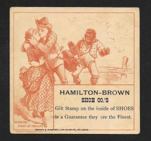 VICTORIAN TRADE CARD Hamilton-Brown Shoes 'Study of 2 Lips'