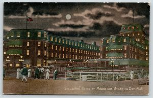 Atlantic City NJ~Moonlight Shines Thru Clouds~Shelburne Hotel Guests~Nite~c1910