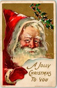 Vintage SANTA CLAUS Embossed Greetings Postcard A JOLLY CHRISTMAS TO YOU c1910s