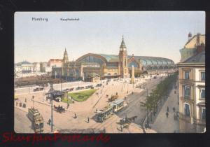 HAMBURG GERMANY HAUPTBAHNHOF RAILROAD STATION DEPOT ANTIQUE VINTAGE POSTCARD