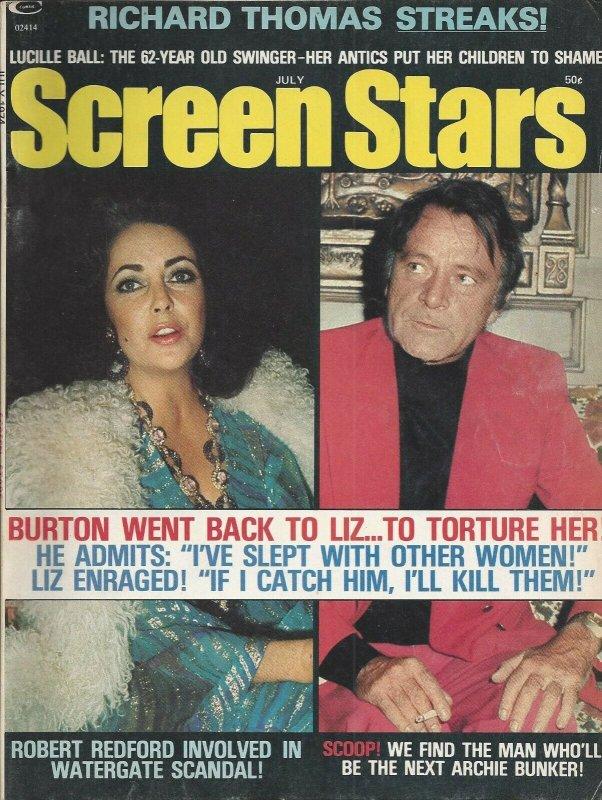 Screen Stars Vintage July 1974 Magazine Liz Taylor Richard Burton Lucille Ball