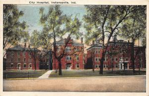 Indianapolis Indiana~City Hospital~Lots of Trees in Front Yard~1924 Postcard