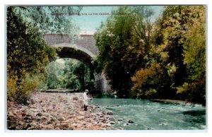 LOS GATOS, CA ~ Concrete BRIDGE Over CREEK  c1910s Mitchell Santa Clara County