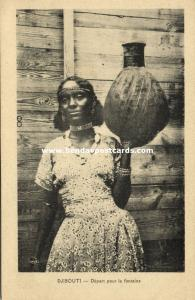 djibouti, Native Girl with large Pitcher (1930s)