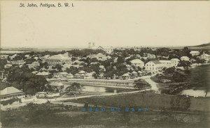 1911 Antigua BWI PC: Panoramic View of Saint John, Meadville PA Postal Markings