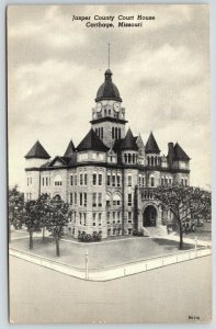 Carthage Missouri~Jasper County Courthouse~Clock Tower~Lots of Cones 1950