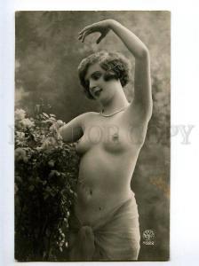 129039 NUDE Woman DANCE Flowers Vintage PHOTO NOYER #4522 PC
