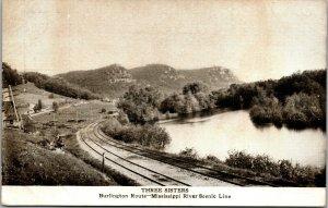 Vtg Three Sisters Burlington Route Mississippi River Train Railroad Postcard