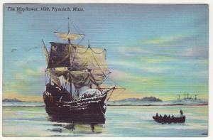 P706 Linen (1930-1945) history the ship mayflower 1620 plymouth mass
