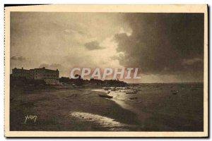 Old Postcard Arcachon Sunset on the beach