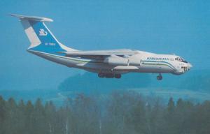 Ilyushin 76TD UK76811 Plane of Uzbekistan Airways at Zurich Airport Postcard