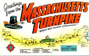 Massachusetts Turnpike Greetings With Map