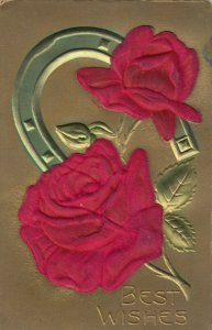 Best Wishes, Embossed Silk Red Rose & Horseshoe , 00-10s