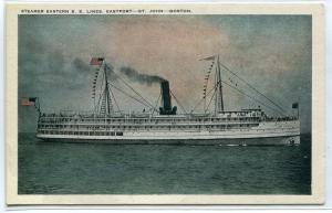 Steamer Eastern Lines Eastport St John Boston Massachusetts 1920c postcard
