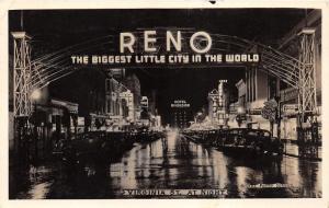 Reno Nevada~Virginia Street @ Night~Archway~Hotel Riverside~Tango~40s Cars~RPPC