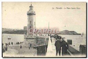 Old Postcard Marseille Lighthouse St. Mary