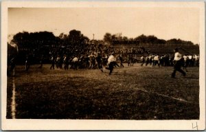 Vintage RPPC Real Photo Postcard FOOTBALL GAME SCENE Field View c1910s Unused