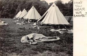 Camping Scene Tents Man Snoring Real Photo Antique Postcard J72566