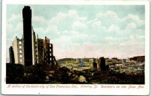 1906 San Francisco Earthquake Postcard Section of the Burnt City c1910s Unused