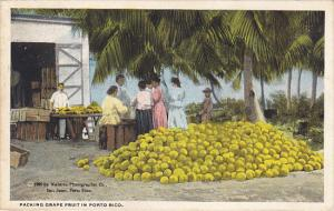 Puerto Rico Natives Packing Grape Fruit 1922 Curteich