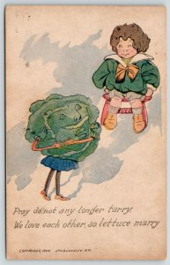 Fantasy Face Girl Cabbage Head to Boy~Lettuce Marry Pun~Roth & Langley~1909