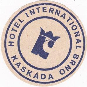 Czechoslovakia Kaskada Hotel International Brno Vintage Luggage Label sk4475